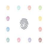 Fingerprint flat icons set Stock Photos