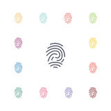 Fingerprint flat icons set. Open colorful buttons Stock Photos