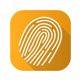 Fingerprint flat linear long shadow icon. Vector line symbol. Royalty Free Stock Images