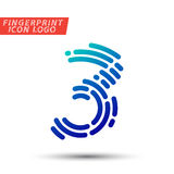 Fingerprint font logo icon. Vector logo design element, abstract information and identification fingerprint letter color icon Stock Images