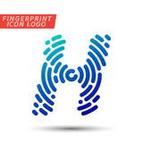 Fingerprint font logo icon. Vector logo design element, abstract information and identification fingerprint letter color icon Royalty Free Stock Photo