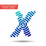 Fingerprint font logo icon. Vector logo design element, abstract information and identification fingerprint letter color icon Royalty Free Stock Image