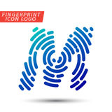 Fingerprint font logo icon. Vector logo design element, abstract information and identification fingerprint letter color icon Royalty Free Stock Photography