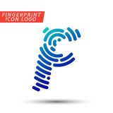 Fingerprint font logo icon. Vector logo design element, abstract information and identification fingerprint letter color icon Stock Photos