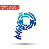Fingerprint font logo icon. Vector logo design element, abstract information and identification fingerprint letter color icon Stock Photography