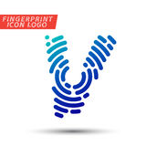 Fingerprint font logo icon Stock Photo