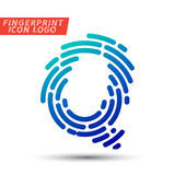 Fingerprint font logo icon. Vector logo design element, abstract information and identification fingerprint letter color icon Stock Image