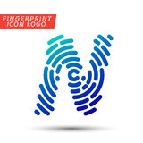 Fingerprint font logo icon. Vector logo design element, abstract information and identification fingerprint letter color icon Stock Photo