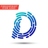 Fingerprint font logo icon. Vector logo design element, abstract information and identification fingerprint letter color icon Royalty Free Stock Photos