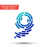 Fingerprint font logo icon. Vector logo design element, abstract information and identification fingerprint letter color icon Royalty Free Stock Images