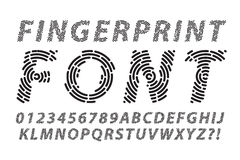 Fingerprint font set. Abstract information and identification fingerprint font set Royalty Free Stock Images