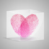 Fingerprint in the form of heart in glass box. Vec Stock Image