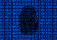 Fingerprint in front of binary background Royalty Free Stock Image