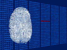 Fingerprint in front of binary background Royalty Free Stock Photos