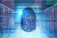 Fingerprint and glowing binary interface. Big fingerprint over blue, red and green binary numbers background. Immersive interface with glowing zeros and ones. Hi stock illustration