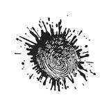 Fingerprint in grunge style paint. On the image presented Fingerprint in grunge style paint Stock Photography