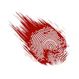 Fingerprint in grunge style paint. On the image presented Fingerprint in grunge style paint Stock Image