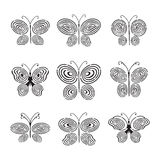 Fingerprint hand drawn butterfly Royalty Free Stock Images