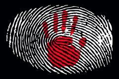 Fingerprint with hand sign inside stock illustration