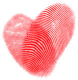 Fingerprint Heart. Two fingerprints forming a heart, romantic concept, isolated over white Royalty Free Stock Photos