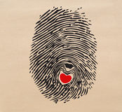 Fingerprint heart. A Red heart in fingerprint Stock Photos