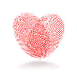 Fingerprint heart. Red fingerprint heart shape on white background Stock Photography