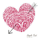 Fingerprint heart with arrow vector card. Fingerprint heart symbol with arrow vector card Stock Image