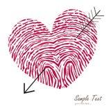 Fingerprint heart with arrow vector card Stock Image