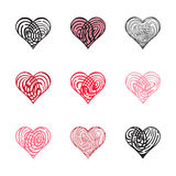 Fingerprint Heart Collection. Collection Of Fingerprint heart icon  on white background Stock Photos
