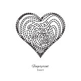 Fingerprint Heart Icon. On white background Stock Image