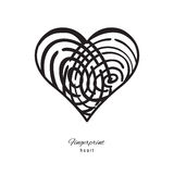 Fingerprint Heart Icon. On white background Royalty Free Stock Images