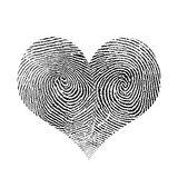 Heart. Fingerprint in heart shape. White and black Stock Images