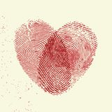 Fingerprint heart. Valentine background (red fingerprint on light background Royalty Free Stock Photography