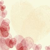 Fingerprint heart. Valentine background (red fingerprint on light background Royalty Free Stock Image