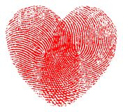 Fingerprint heart. Vector illustration of a red heart made with two fingerprints  on white background. High detailed image - Editable vector eps file available Royalty Free Stock Photography
