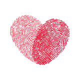 Fingerprint heart. Vector red heart from two fingerprints Stock Photo