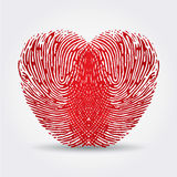 Fingerprint heart. On a white background with a shadow Stock Photography