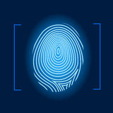 Fingerprint. Human identity mark blue   illustration Royalty Free Stock Photos