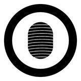 Fingerprint icon black color in circle. Vector illustration isolated Stock Image