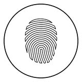 Fingerprint icon black color in circle round. Outline Royalty Free Stock Photo