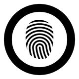 Fingerprint icon black color in circle round. Vector illustration Stock Photo