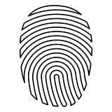 Fingerprint icon black color illustration flat style simple image. Fingerprint icon black color vector illustration flat style outline Royalty Free Stock Photos