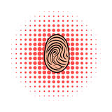 Fingerprint icon, comics style. Fingerprint icon in comics style on a white background Stock Photo