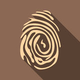 Fingerprint icon, flat style. Fingerprint icon. Flat illustration of fingerprint vector icon for web isolated on coffee background Royalty Free Stock Images