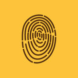 The fingerprint icon. ID symbol. Flat Royalty Free Stock Image