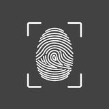 Fingerprint icon identification. Security and surveillance system. Fingerprint icon identification isolated on dark background. Security and surveillance system Stock Image