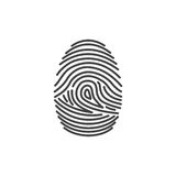 Fingerprint icon identification. Security and surveillance system. Fingerprint icon identification isolated on white background. Security and surveillance system Royalty Free Stock Photo