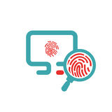 Fingerprint icon on pc laptop vector illustration. Royalty Free Stock Photos