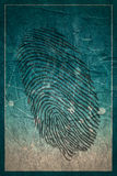 Fingerprint icon. Security technology. Fingerprint icon. Molecule And Communication Background. Concrete texture. Connected lines with dots. Technology and Royalty Free Stock Images