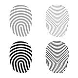 Fingerprint icon set grey black color. Outline Stock Image